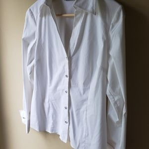 INC White Dress Shirt with Crystal Buttons